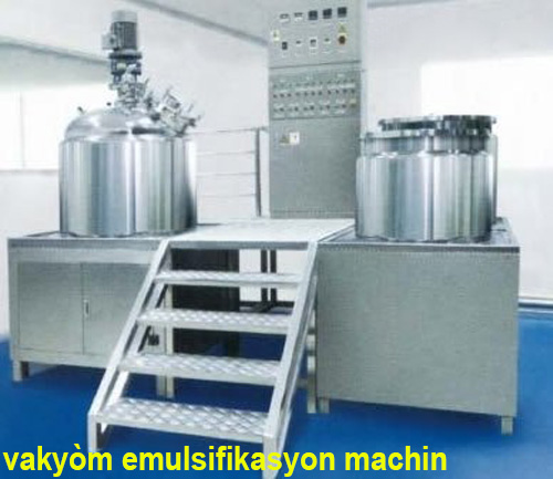 Vacuum emulsion mixer ak emulsion ki agitateur