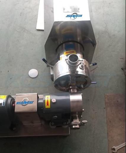 High shear inline mixer unit for high viscosity materials process