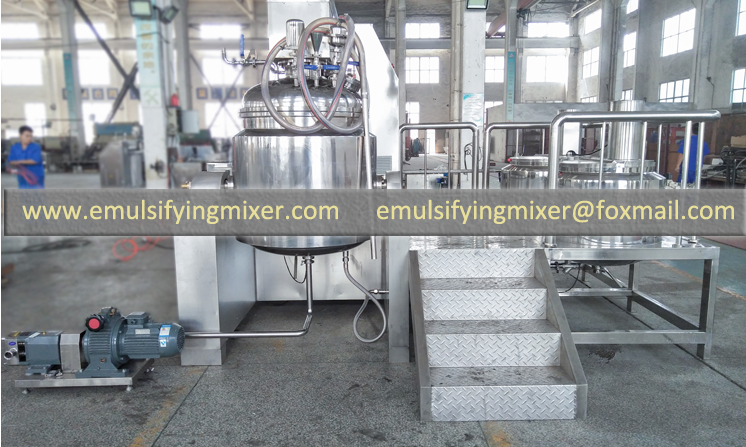way of discharge on vacuum high shear batch mixer