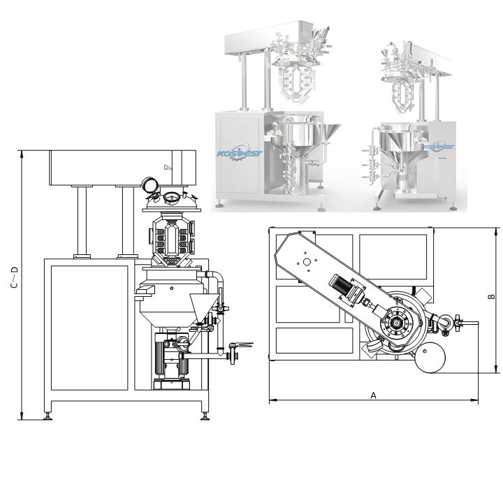 Product Dimension with Open Lid of Kos-V50 recirculation homogenizing mixer machine