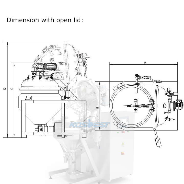 Product Dimension with Open Lid Instruction of Kos-H160 recirculation homogenizer mixer