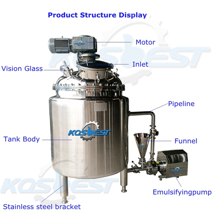 Structure Instruction of Kos-J251 Chemical emulsifying mixing tank
