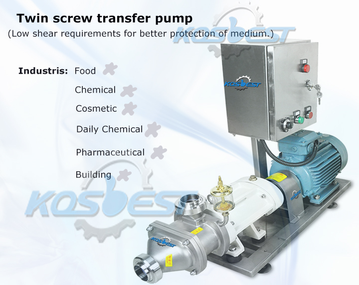 Kos-02SLX twin screw pump transfer pump ( with frequency converter ) for Chocolate, cheese, honey.