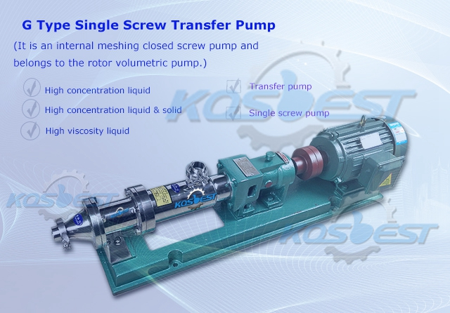 KOSBEST G-type single screw transfer pump for paint and petroleum